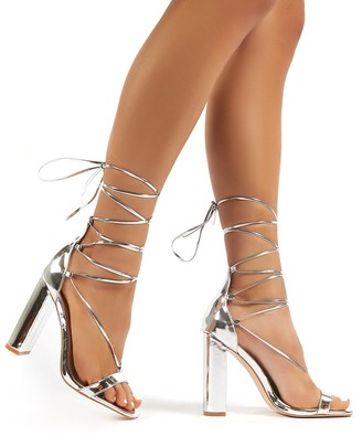 Public Desire Frankie Mirror Lace Up Block High Heels