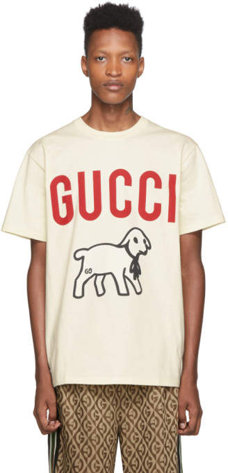 Gucci Off-White Printed T-Shirt