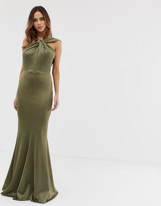 Asos Design DESIGN halter neck maxi dress with fishtail skirt-Green