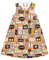 Fendi Orange Text Print Shirt Dress