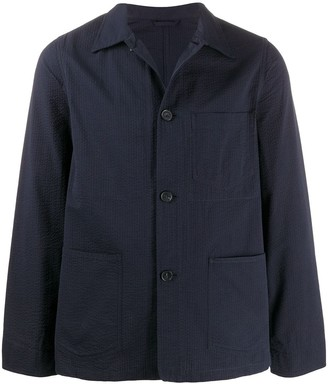 Officine Generale Patch-Pocket Seersucker Shirt Jacket
