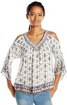 Angie Juniors' Placement-Print Cold-Shoulder Top