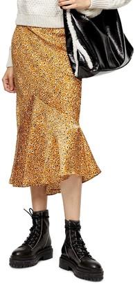 Topshop Leopard Satin Flounce Skirt