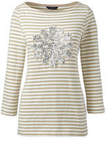 Lands' End Women's Petite Sequin Top-Black/Ivory Stripe