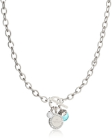 Rebecca Hollywood Stone Rhodium Over Bronze Chain Necklace w/Hydrothermal Turquoise Stone and Glass Pearl