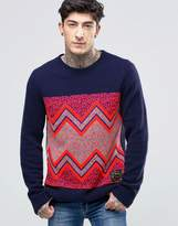 Scotch & Soda Jumper With Graphic Flourecent Print In Navy