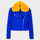 Paul Smith Women's Blue Wool-Cashmere Biker Jacket With Yellow Collar