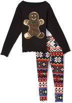 Beary Basics Black Gingerbread Tee & Fair Isle Leggings - Toddler & Girls