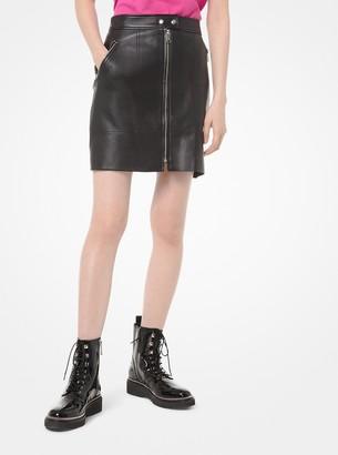 MICHAEL Michael Kors Leather Moto Skirt