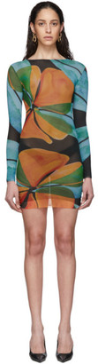 Louisa Ballou SSENSE Exclusive Multicolor Low-Tide Double Layer Mesh Dress