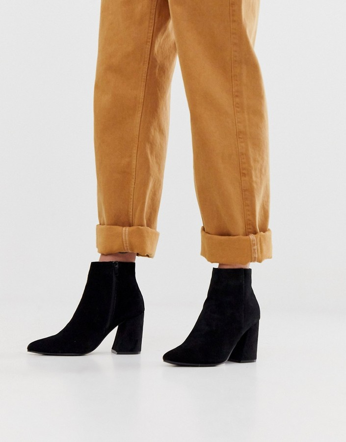 New Look suede pointed heeled boots in black
