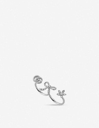 Gucci Floral diamond and 18ct white-gold multi-finger ring