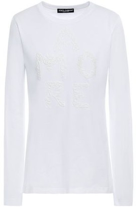 Dolce & Gabbana Guipure Lace-trimmed Cotton And Silk-blend Jersey Top