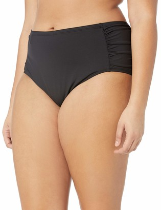 Kenneth Cole Reaction Women's Plus-Size Over The Rainbow Solid Shirred Side Swimsuit Bikini Bottom