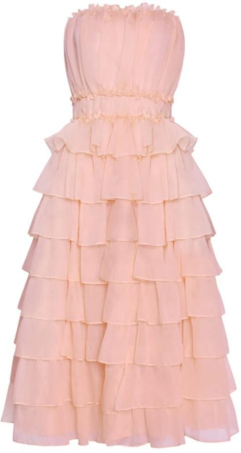 True Decadence Shell Pink Organza Layered Strapless Midi Skater Dress