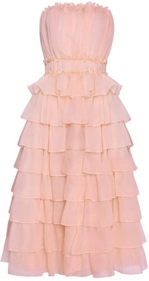 True Decadence Shell Pink Organza Layered Strapless Midi Skater Dress