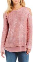 Jessica Simpson Abbey Sequin Cold Shoulder Sweater