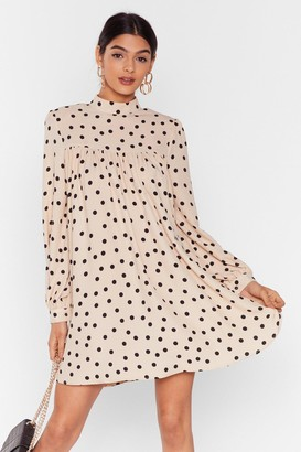 Nasty Gal Womens Got a Smock to Say Polka Dot Mini Dress - White - 4, White