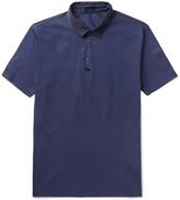 Lanvin - Slim-fit Grosgrain-trimmed Cotton-piqué Polo Shirt