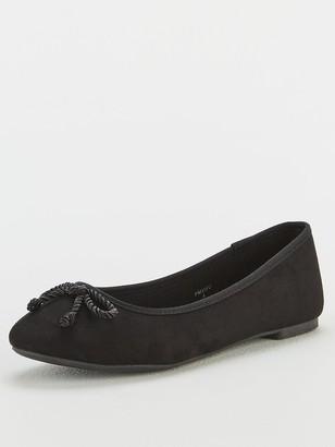 Very Maci Wide Fit Round Toe Ballerina - Black