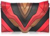 Elena Ghisellini Selina Burning Lines Small Multicolor Leather Clutch