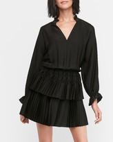 Express Satin Ruffle Collar Pleated Dress