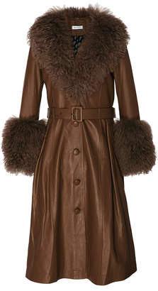 Saks Potts Foxy Shearling-Trimmed Leather Coat