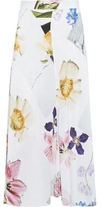 Ganni Printed Crepe De Chine Midi Skirt