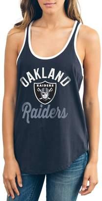 Junk Food Clothing Unbranded Women's Black Oakland Raiders Goal Line 1-Hit Ringer Tank Top
