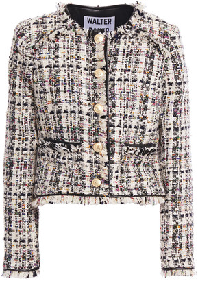 Walter Baker Baca Faux Leather-trimmed Frayed Tweed Jacket