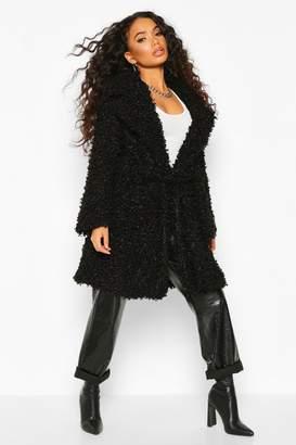 boohoo Petite Teddy Faux Fur Belted Coat
