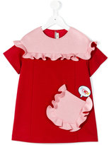 Fendi frill pocket dress - kids - Polyamide/Spandex/Elastane/Acetate/Viscose - 10 yrs