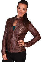 Scully Women's Croco Print Burnished Lamb Jacket L635