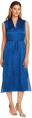 Vince Camuto Sleeveless Charmeuse V-Neck Maxi Dress (Dusk Blue) Women's Clothing