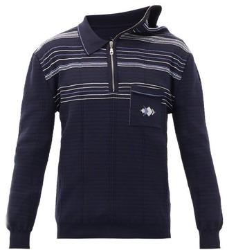 Y/Project Asymmetric-collar Jersey Polo Shirt - Mens - Navy