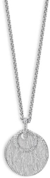 """Effy Diamond Circle & Textured Disc 18"""" Pendant Necklace (1/6 ct. t.w.) in Sterling Silver"""