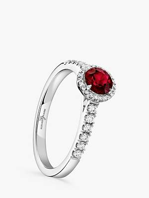 Brown & Newirth 18ct White Gold Round Ruby and Diamond Shoulder Engagement Ring, 0.72ct