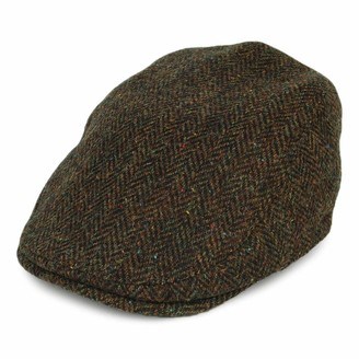 Failsworth Hats Oban Harris Tweed Herringbone Newsboy Cap with Earflaps - Olive 7
