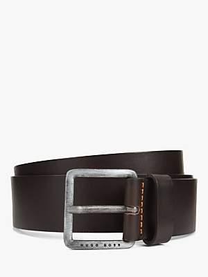 HUGO BOSS BOSS Jeeko Stitch Detail Leather Belt, Dark Brown
