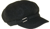 Nine West Black Tab-Accent Wool-Blend Newsboy Cap