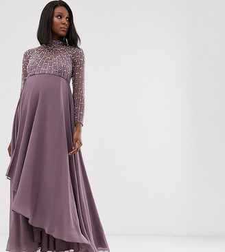 ASOS DESIGN Maternity midi dress with linear embellished bodice and wrap skirt