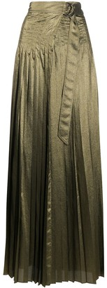 Brunello Cucinelli Belted Long Pleated Skirt