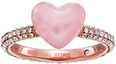Michael Kors Carved Hearts Rose Quartz and Pavé Crystal Heart Ring