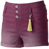 Tinseltown Juniors' Crush Color Triple Stack Shortie Shorts