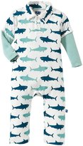 Kickee Pants Print Polo Romper (Baby) - Natural Megalodon-18-24 Months