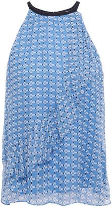 Joie Corisande Ruffled Printed Silk-georgette Top