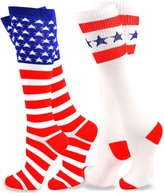 TeeHee Socks TeeHee American Flag Women's Knee High Socks - Stars & Stripes 2-Pack