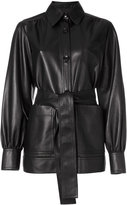 Joseph collared leather jacket