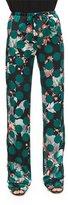 Roberto Cavalli Printed Silk Pajama Pants, Green Multi