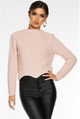 Quiz Pink Round Neck Cable Knit Jumper